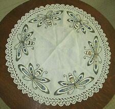"Wonderful 23"" Antique Arts & Crafts Mission Embroidered Table Round Butterflies"
