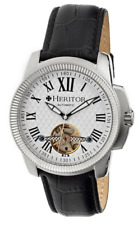HERITOR Franklin HR2901 Silver Engraved Dial Black Leather Men's Watch 5122