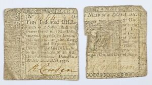 1770 Maryland Early US Colonial One Ninth of a Dollar Note - Split In Two
