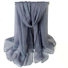 2pcs Women Ladies Long Chiffon scarf cover wrap 162cm x 70cm Nylon NEW Grey