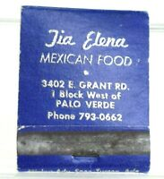 Vintage Tia Elena Restaurant Business Closed Tucson Arizona Matchbook
