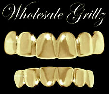 REAL SHINY New 14k Gold Plated HipHop Teeth Grillz Caps Top & Bottom Grill Set
