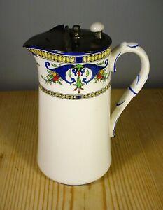 """Royal Worcester Art Nouveau """"Bordeaux"""" Pewter Topped Jug 1922"""