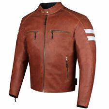 Men's Genuine Leather Jacket Motorcycle CE Armor Biker Safety Cruiser Brown