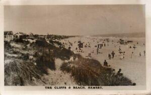 Norfolk HEMSBY Cliffs Beach stamp postmark Postcard RP