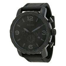 Fossil Nate Black Ion Plated Stainless Steel Chrono Leather Strap JR1354 Men's