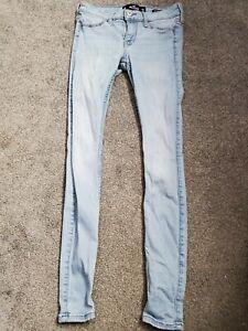 Hollister Super Skinny Light Wash Stretch Blue Jeans Size 0 R