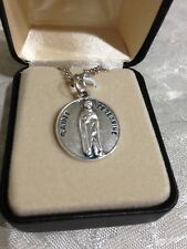 """""""ST.PEREGRINE 3/4"""" Medal, Stainless Silver 20""""Ch  #SO727-62 by CREED NEW Case"""