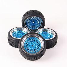 4X Rubber Tires Wheel Rims Set For HSP HPI RC 1:10 Flat On Road Car 12mm Hex