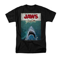 JAWS LINED POSTER Licensed Adult Men's Graphic Tee Shirt SM-6XL
