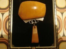 Beautiful,Finely Crafted Vintage 1950's: Baltic Butterscotch Amber Silver Brooch