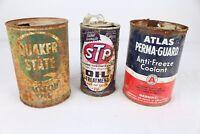 3 Vintage Atlas Perma Guard Antifreeze Quart Steel Oil Can STP Oil Quaker State