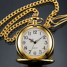 Classic Vintage Gold Case Men's Pendant Pocket Quartz Watch With Chain FOB Gift