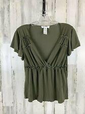 Nine West Women's Low Cut Short Sleeve Shirt Green Size S NWT