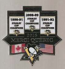 2016 Pittsburgh Penguins  ''1991-92-2009 Stanley Cup Banners''  Hockey BIG pin