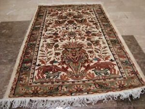Vas Tree of Life Peace Deer Bird Hand Knotted Rug Wool Silk Carpet (4 x 2.6)'
