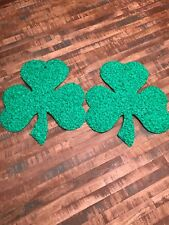 Pair Of Vintage Melted Plastic St.Patrick Day Clovers