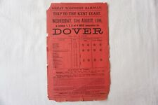 More details for 1899 trip to kent coast dover great northern railway handbill timetable gnr