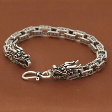 Men's Solid 925 Sterling Silver Bracelet Link Chain Two Dragon Heads Lection