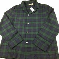 LL BEAN Scotch Plaid Flannel Pajamas Top Only Tartan Check Large Women