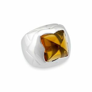 Bvlgari 18K White Gold Pyramid Vintage Citrine Ring