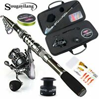 Sougayilang Telescopic Fishing Rod With Spinning Reels Combos Fishing Reel Pole