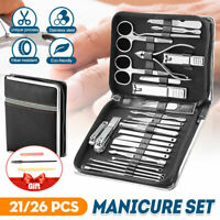 26/21PCS Pedicure / Manicure Set Nail Clippers Cleaner Cuticle Grooming Kit Case