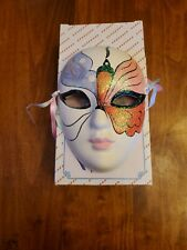 """Butterfly 5"""" Ceramic Painted Face Mask Mardi wall Hanger Butterfly Face New NIB"""