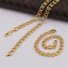 """Real 9k 'Gold filled' Unisex Bracelet + Necklace 23.2"""" Chain Set Gift"""