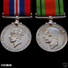 1939-45 WAR MEDAL + DEFENCE MEDAL FULL SIZE SET WW2 BRITISH CAMPAIGN MEDALS COPY