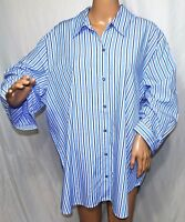 Southern Lady Women Plus Size 2x 3x Blue White Striped Button Down Shirt Blouse