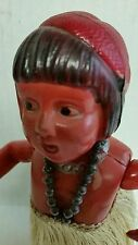 VINTAGE c.1930s TIN AND CELLULOID WIND UP HULA DOLL W/ SKIRT WORKING COND.