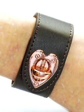 New Rhona Sutton Cuff Bracelet - Brown Leather with Gold Heart Clasp Length 18cm