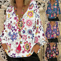 Women Summer Gypsy Baggy Floral Tunic Tops Shirts Long Sleeve Blouse Plus Size