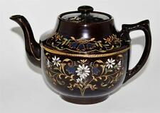K & B England - HAREBELL - Dark Brown Stoneware - Antique Hand Painted Tea Pot