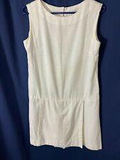 1960's Shorts Dress-  M- White Linen-Look Fabric - VG- CLASSY