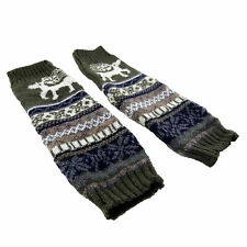 Knitted Olive Green Holiday Reindeer Knee High Leg Warmer Yoga Socks Winter W