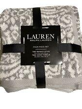 Lauren Ralph Lauren Gray/White Floral 4Pc 2 Washcloths 2 Hand Towels