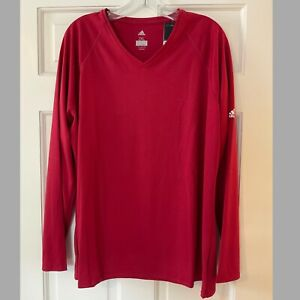 Adidas Womens Long Sleeve Climalite Tee Shirt Red Workout 2XL NWT