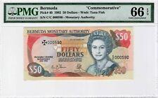 """Bermuda 50 Dollars 1992 P-40 """"Commemorative"""" S/N 000590 PMG Gem UNC 66 EPQ"""