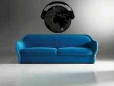 Wall Vinyl Sticker Decals Mural Design World International Music Headphones #440