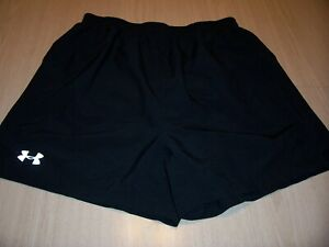 UNDER ARMOUR HEATGEAR BLACK RUNNING SHORTS WITH LINER BRIEF MENS LARGE EXCELLENT