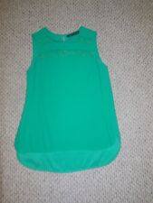 Zara Green Sheer Stripe Blouse Top Hi Low Hem Sleeveless As Seen On TV