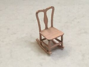 Vintage Tootsie Toy Pink Painted Metal Rocking Chair Dollhouse Miniature