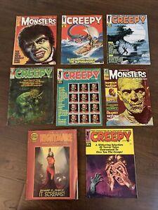 8 Vintage Monster Horror Magazines Eerie Famous Monsters Creepy VG/FN Lot