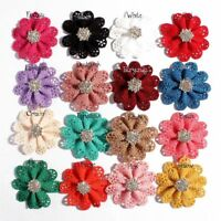 50pcs 5.5cm Hollow Out Hair Flowers With Sparkly Snow Rhinestone Buttons
