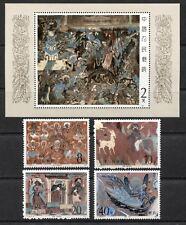 ART: PAINTINGS, MURALS ON CHINA 1987 Scott 2091-2095, MNH