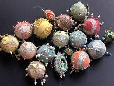 LOT 17 Vintage CHRISTMAS Push Pin BEADED BEAD ORNAMENTS Ribbon Antique Jewel WOW