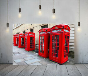 TELEPHONE BOXES -DEEP FRAMED CANVAS WALL ART OBJECTS PICTURE PAPER PRINT- GREY