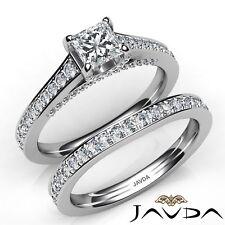1.75ctw Accent Bridge Pave Bridal Princess Diamond Engagement Ring GIA H-VVS1